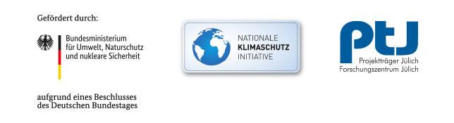 Logos der Förderer: Bundesministerium für Umwelt, Naturschutz und nukleare Sicherheit; Nationale Klimaschutzinitiative; Projektträger Jülich